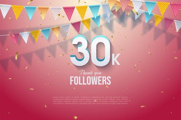 Fundo de 30k seguidores com números 3d em relevo e bandeiras coloridas.