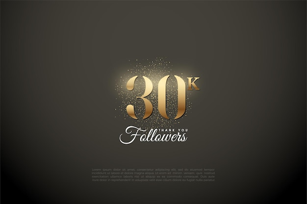 Fundo de 30k seguidores com números brilhantes e areia dourada no topo.