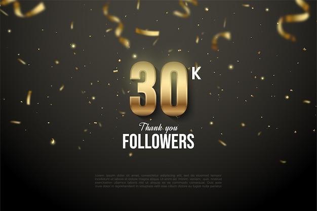 Fundo de 30k seguidores com números caindo e papel dourado.