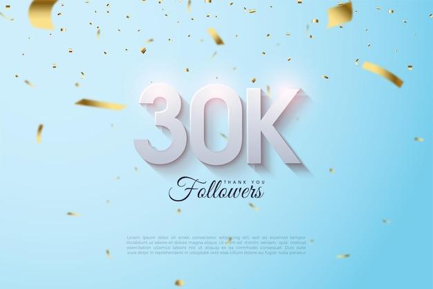Fundo de 30k seguidores com números e papel dourado caindo.