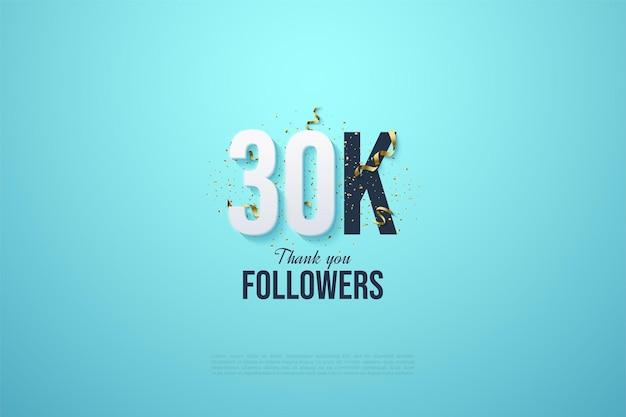 Fundo de 30k seguidores com números e um fundo azul celeste brilhante.