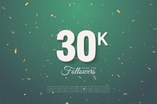 Fundo de 30k seguidores com números em fundo verde escuro.