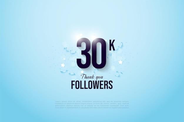 Fundo de 30k seguidores com números em um fundo azul-celeste claro.