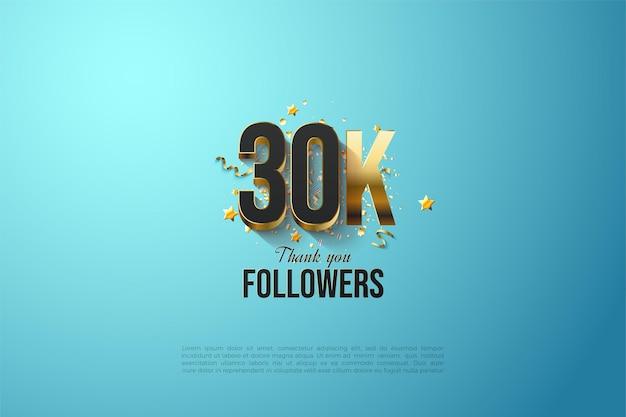 Fundo de 30k seguidores com placas de ouro formando números.