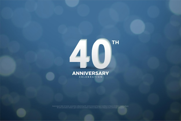 Fundo de 40º aniversário com números e plano de fundo usando ilustração de mica suculenta colorida da marinha.