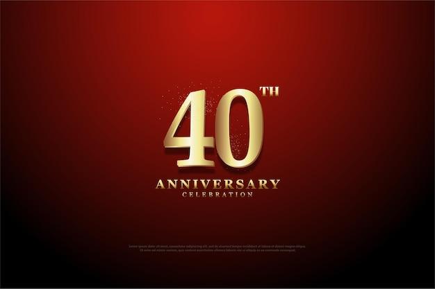 Fundo de 40º aniversário com números marrons dourados sobre fundo vermelho vinheta. Vetor Premium