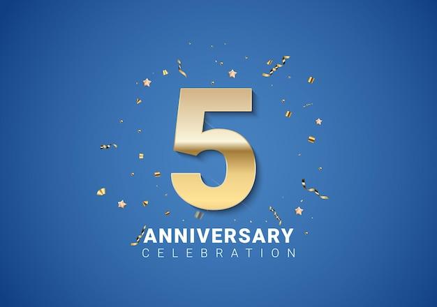 Fundo de 5 aniversário com números dourados, confetes, estrelas sobre fundo azul brilhante. ilustração vetorial eps10