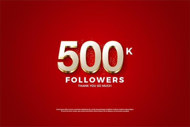 Fundo de 500 mil seguidores com camada de número ouro de luxo