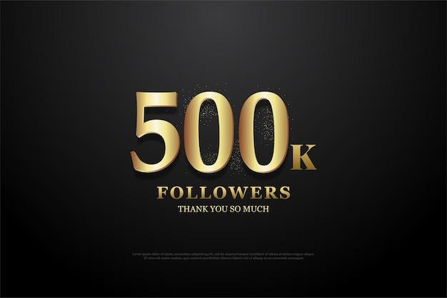 Fundo de 500 mil seguidores com design plano