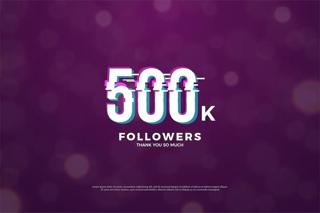 Fundo de 500 mil seguidores com efeito de corte de números em paz