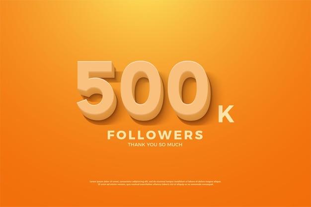 Fundo de 500 mil seguidores com números animados