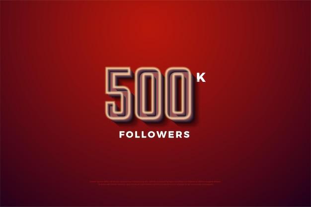 Fundo de 500 mil seguidores com números com borda branca suave