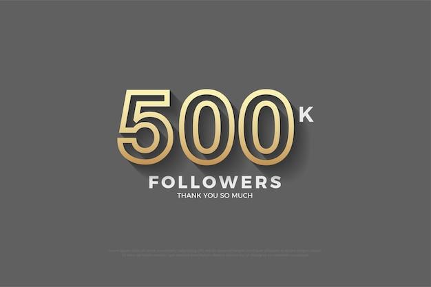 Fundo de 500 mil seguidores com números de borda marrom