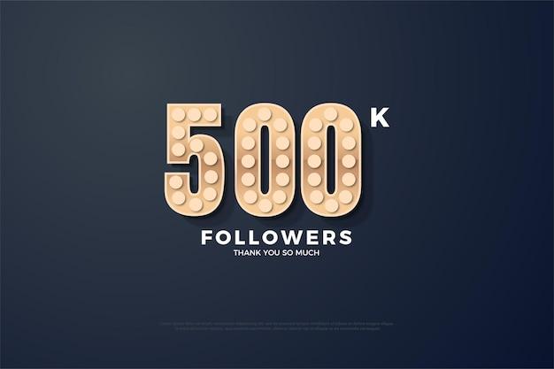 Fundo de 500 mil seguidores com números de textura rígida