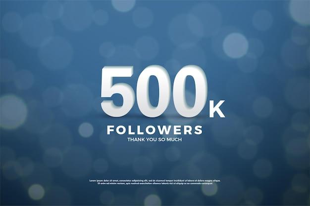 Fundo de 500 mil seguidores com números e efeito bokeh