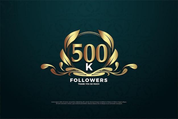 Fundo de 500 mil seguidores com números e símbolos charmosos