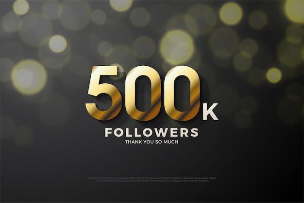 Fundo de 500 mil seguidores com sombra recortada em números dourados