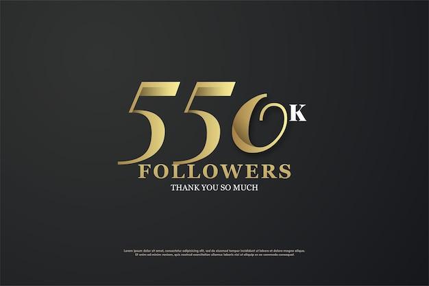 Fundo de 550 mil seguidores com design de número plano