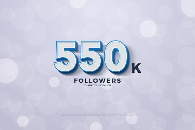 Fundo de 550 mil seguidores com números com bordas em azul sólido