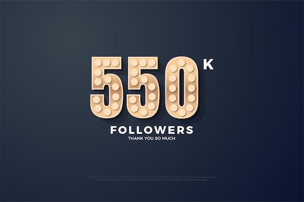 Fundo de 550 mil seguidores com números de textura áspera