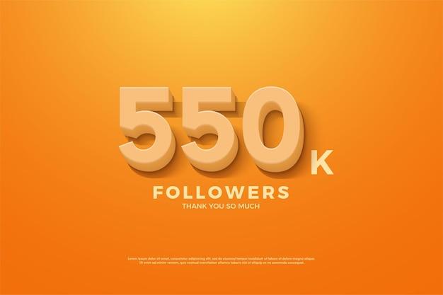Fundo de 550 mil seguidores com números laranja