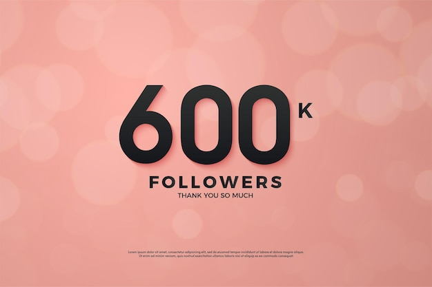 Fundo de 600 mil seguidores com design plano e número exclusivo