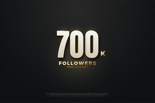 Fundo de 700 mil seguidores com números brilhantes