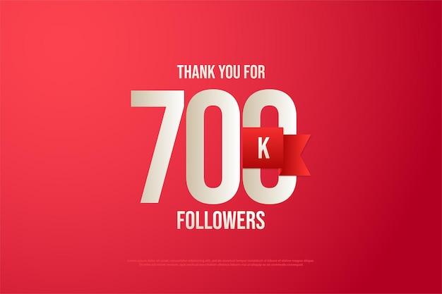 Fundo de 700 mil seguidores com números e fita