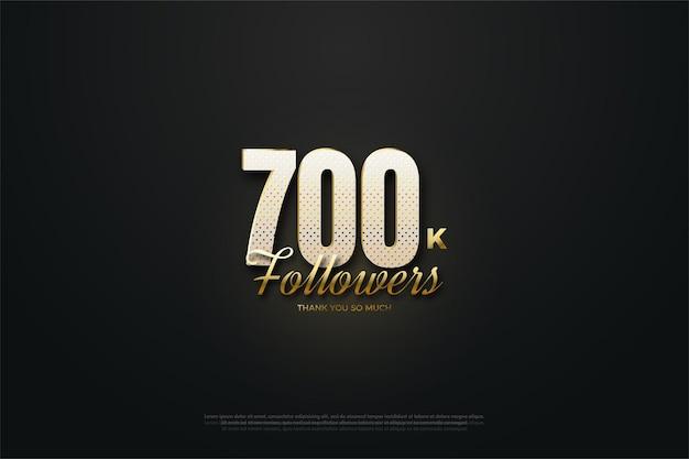 Fundo de 700 mil seguidores com números e toque de brilho