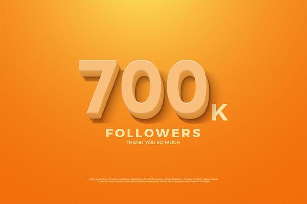 Fundo de 700 mil seguidores com números em relevo e sombreados