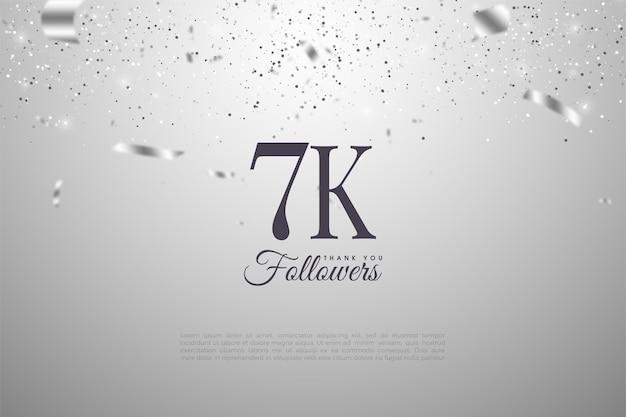 Fundo de 7k seguidores com fita e números de prata brilhantes.