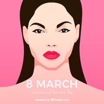 Fundo de 8 de março com a face de uma mulher em design plano