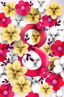Fundo de 8 de março para o dia da mulher com flores