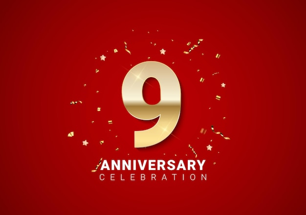 Fundo de 9 aniversário com números dourados, confetes, estrelas em fundo vermelho brilhante nas férias. ilustração vetorial eps10