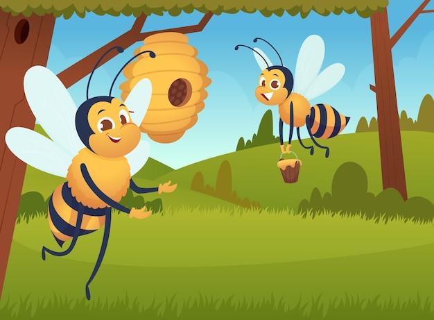 Fundo de abelha de desenho animado. flores voadoras, insetos amarelos, colmeia, colmeia, apiário, abelhas, personagens trabalhando