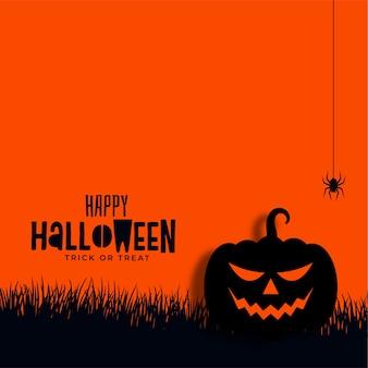 Fundo de abóbora e aranha feliz de halloween
