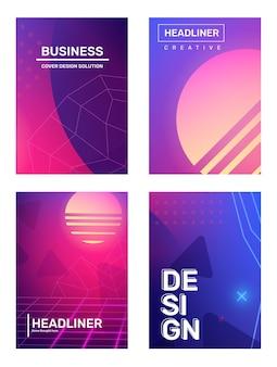 Fundo de abstração de futurismo retro de gradiente de negócios com espaço planeta estrela vetor definido