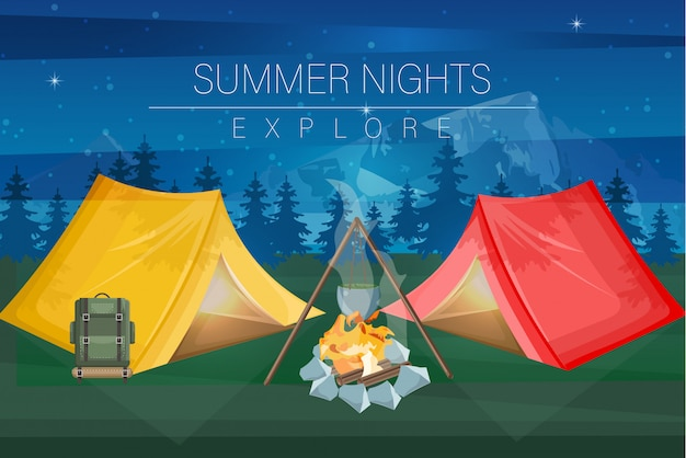 Fundo de acampamento de noite