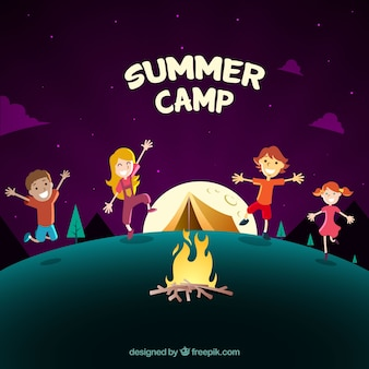 Fundo de acampamento de verão com crianças dançando ao redor de uma fogueira