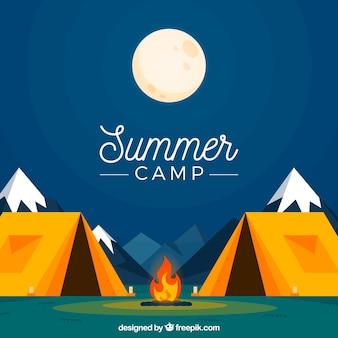 Fundo de acampamento de verão com noite tranquila