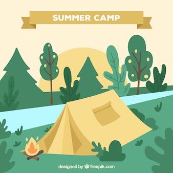 Fundo de acampamento de verão com paisagem