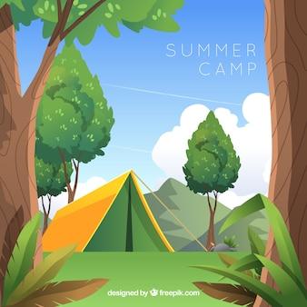 Fundo de acampamento de verão em design plano