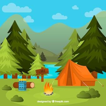 Fundo de acampamento de verão