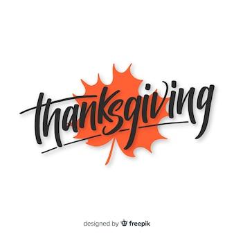 Fundo de ação de graças de mão desenhada com letras de outono