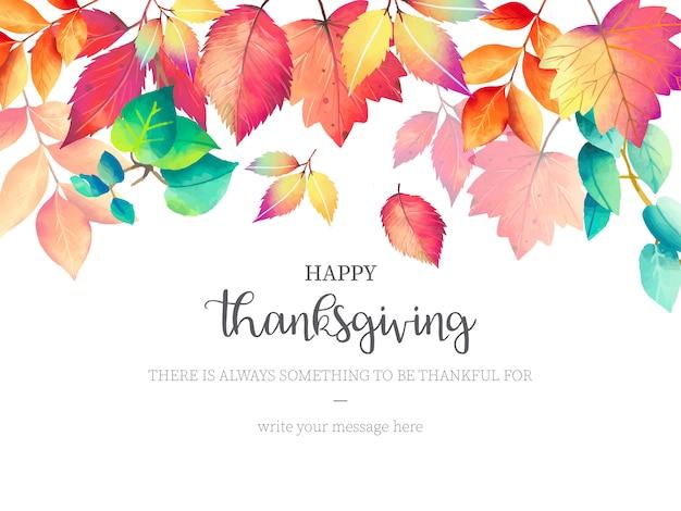 Fundo de ação de graças feliz com folhas de outono