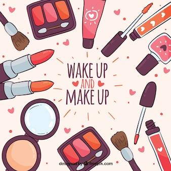 Fundo de acessórios de maquiagem