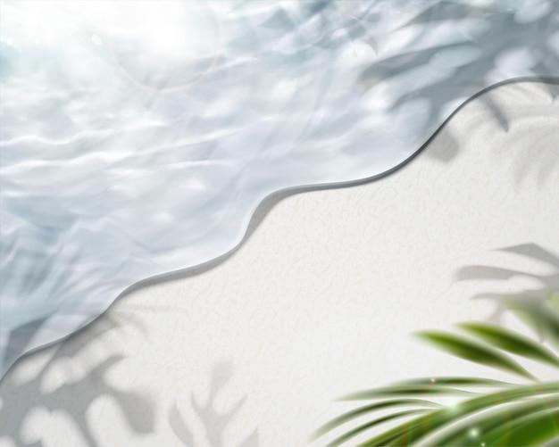 Fundo de água límpida da praia de verão em ilustração 3d