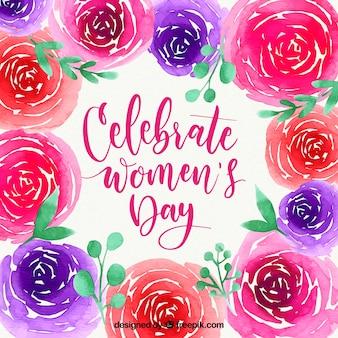 Fundo de aguarela do dia das mulheres com flores