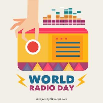Fundo de ajuste de mãos a uma estação de rádio