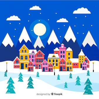Fundo de aldeia de noite de natal